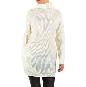 Женский свитер удлиненный с воротником стойка (Европа), Белый
