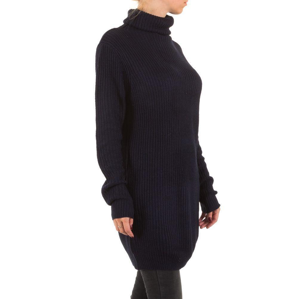 Женский свитер удлиненный с воротником стойка (Европа), Темно-синий