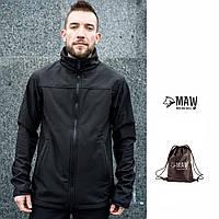 Soft Shell мужская спортивная куртка на флисе влагоустойчевая MAW man&wolf черная + подарок