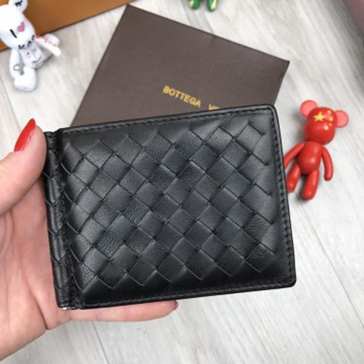 ca815edacd48 Кожаный зажим для денег купюр Bottega Veneta черный из натуральной кожи  женский мужской Боттега люкс реплика