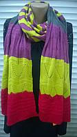 Яркий вязаный шарф  в полоску