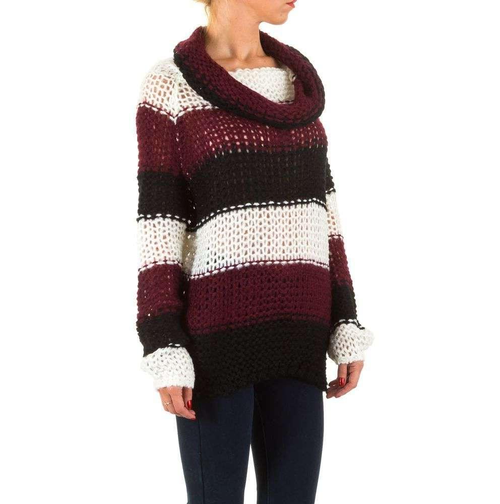Женский полосатый свитер с воротником хомут (Европа), Бордовый