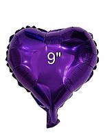 """Серце фольговані металік 9-10""""/22-25см.-надувши повітрям - Фіолетовий"""