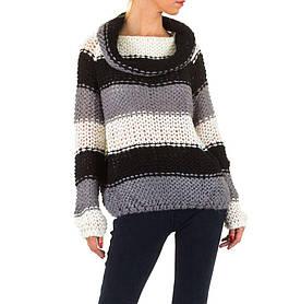 Женский полосатый свитер с воротником хомут (Европа), Серый