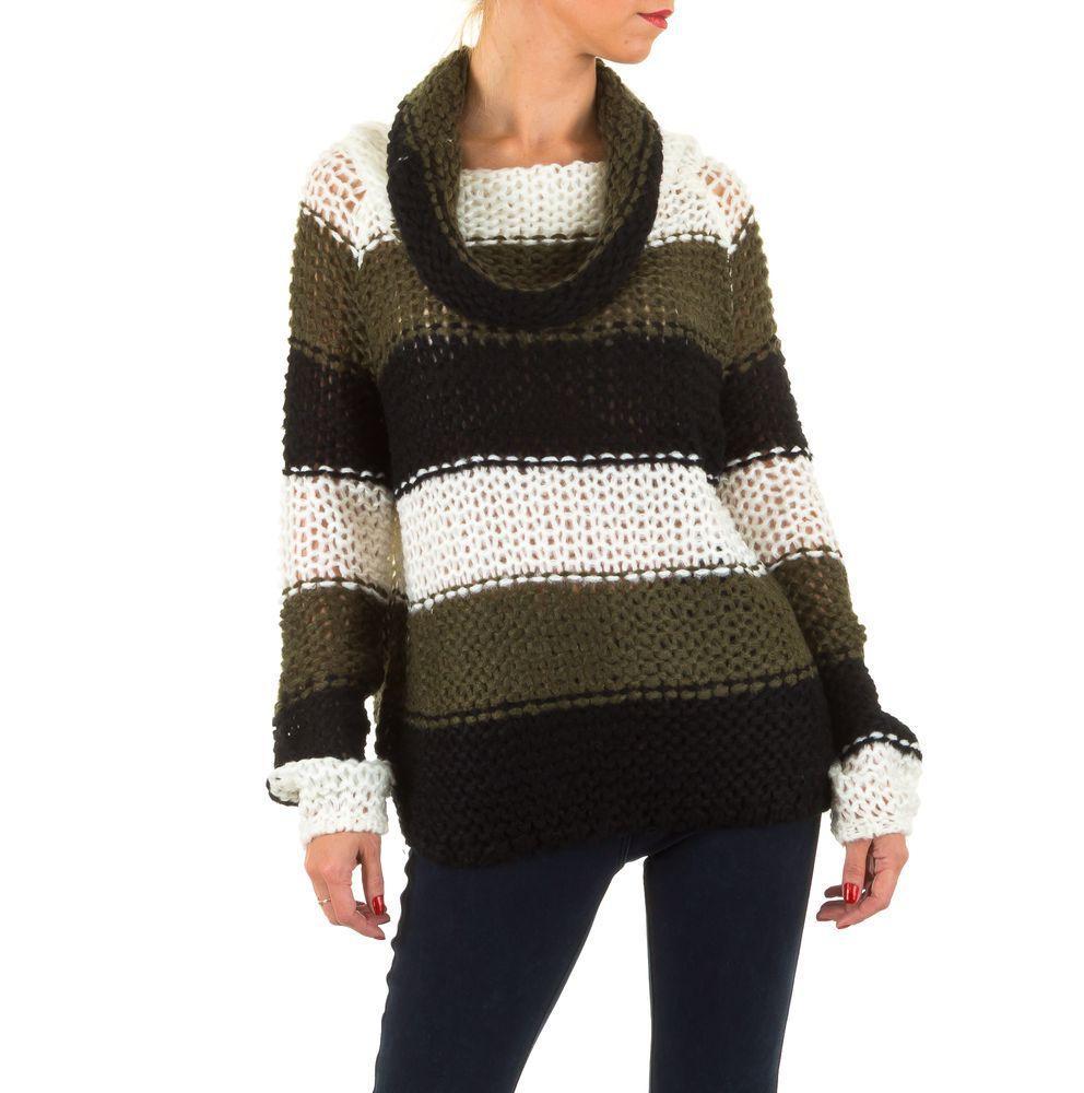 Женский полосатый свитер с воротником хомут (Европа), Зеленый