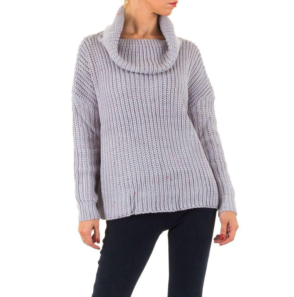 Женский свитер в рубчик с воротником хомут (Европа), Серый