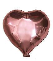 """Сердце фольгированное металлик 18""""/45см.-надув воздухом- Розовое Золото, Розовое Золото"""