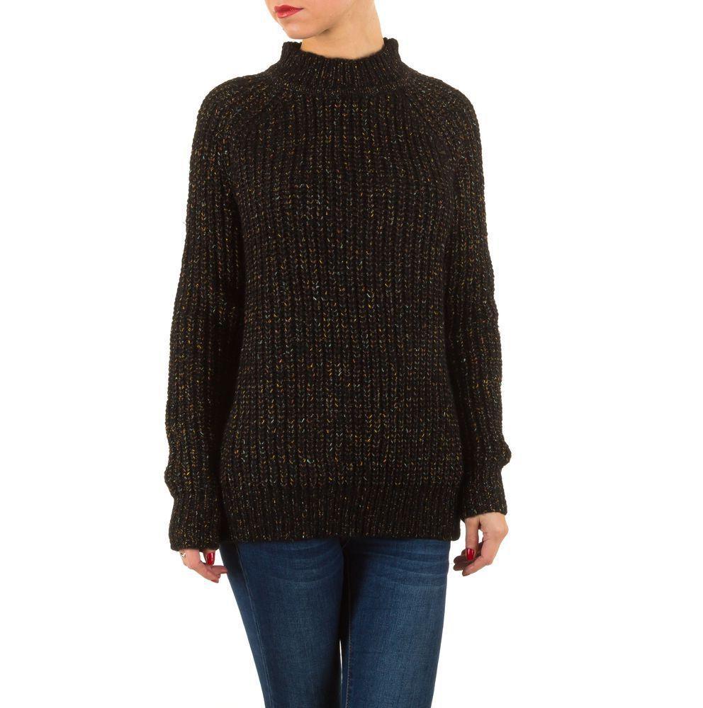 Женский свитер в рубчик с меланжевой крупной вязки (Европа), Черный