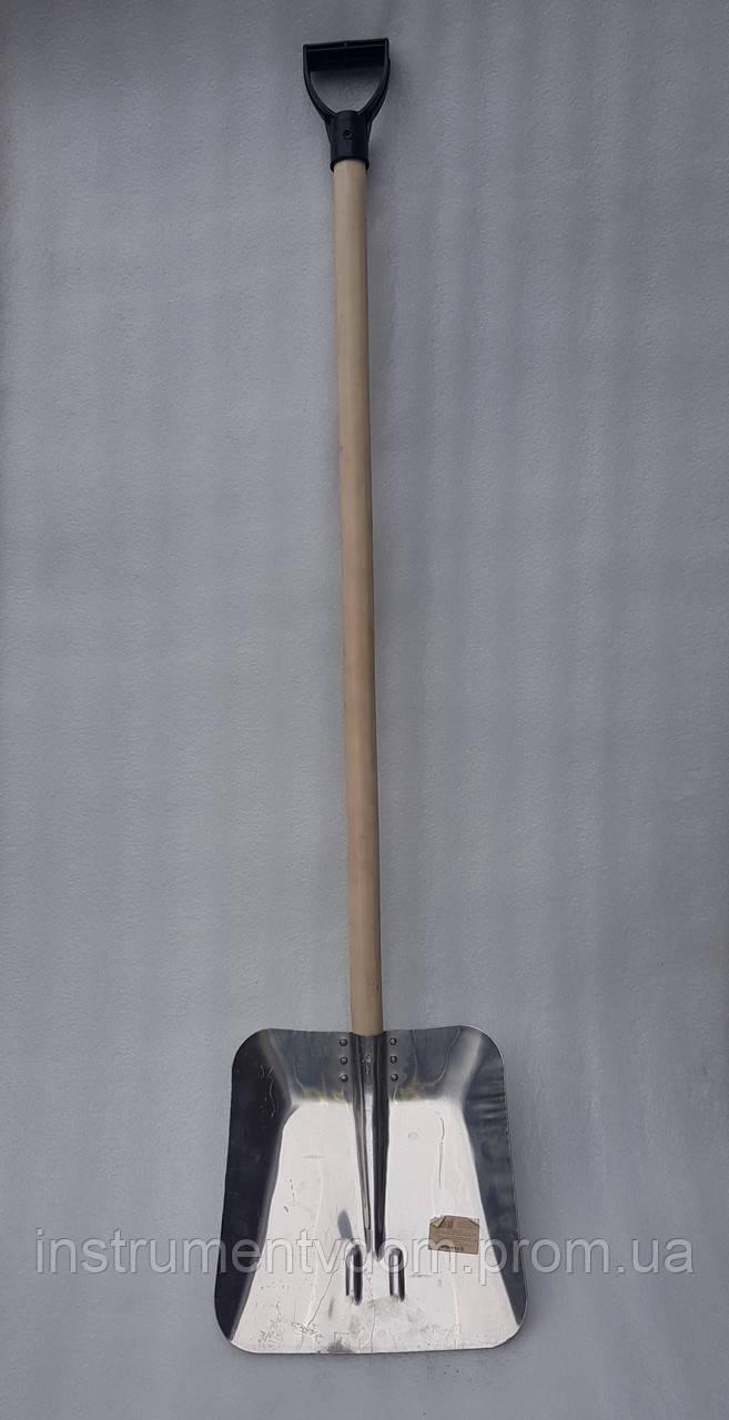 Лопата для уборки снега алюминиевая (с деревянным черенком)
