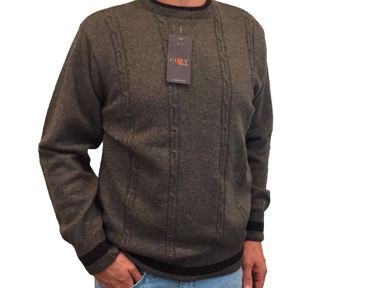 Мужской теплый свитер № 1620  коричневый с косичками