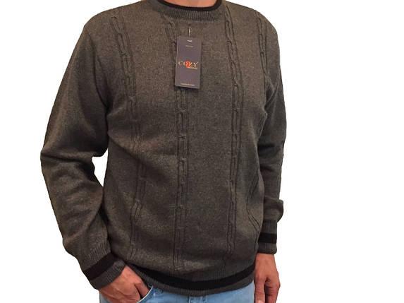 Мужской теплый свитер № 1620  коричневый с косичками, фото 2