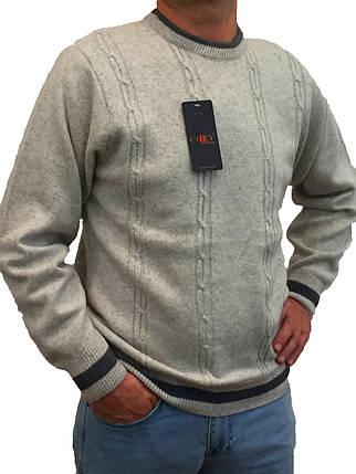Мужской теплый свитер № 1620 серый с косичками, фото 2