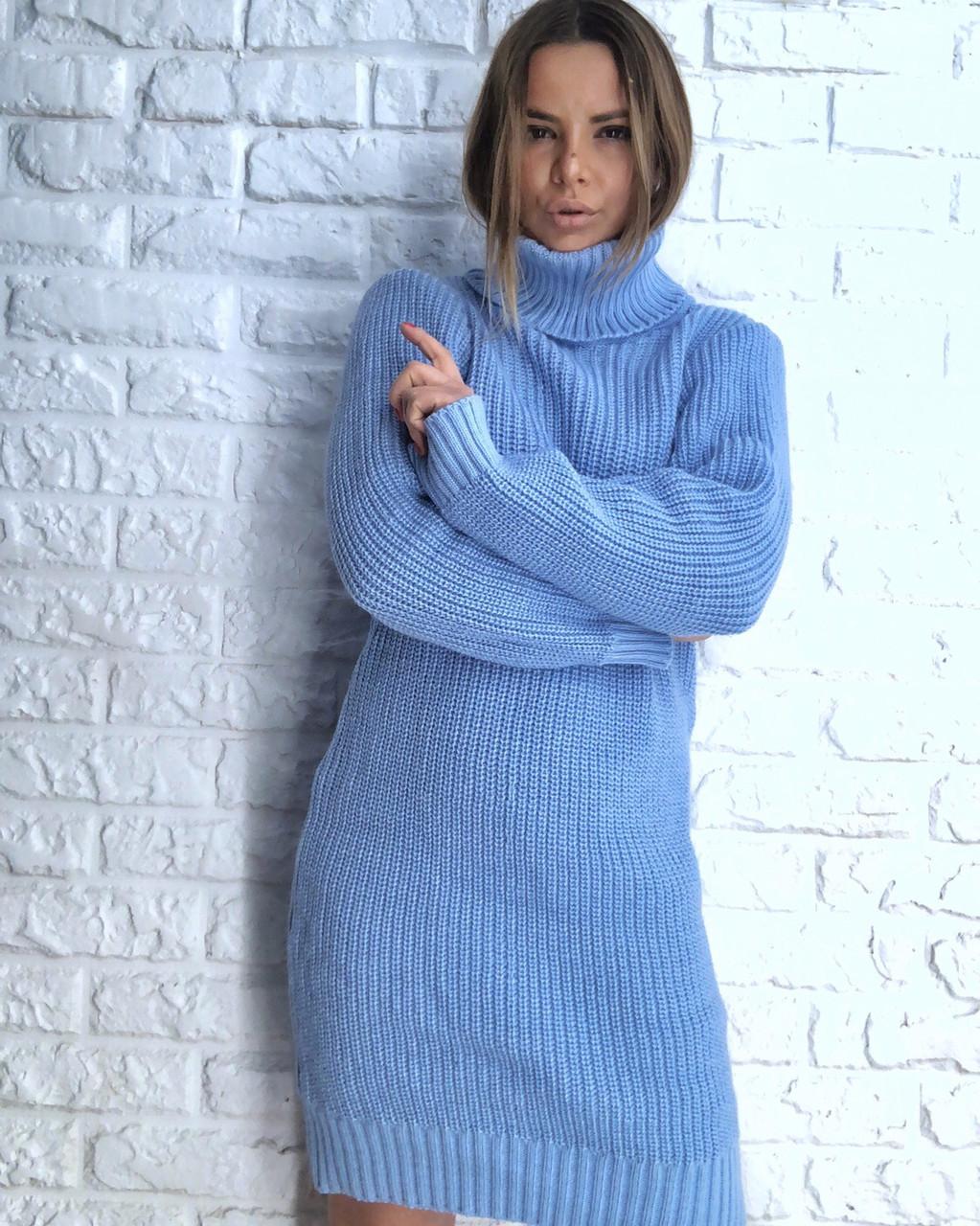 Прямое вязаное платье с высокой горловиной 3032062