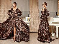 Шелковое длинное принтованное платье леопардовый принт 31032073, фото 1