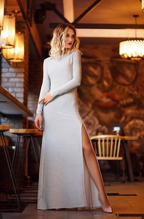 """Длинное облегающее платье люрекс """"Narina"""" с разрезом и открытой спиной (3 цвета), фото 2"""