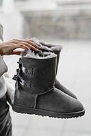 Женские зимние угги Ugg Bailey Bow Gray Реплика ААА класса, фото 1