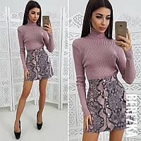 Замшевая принтованная юбка с пуговицами спереди 6611151, фото 1