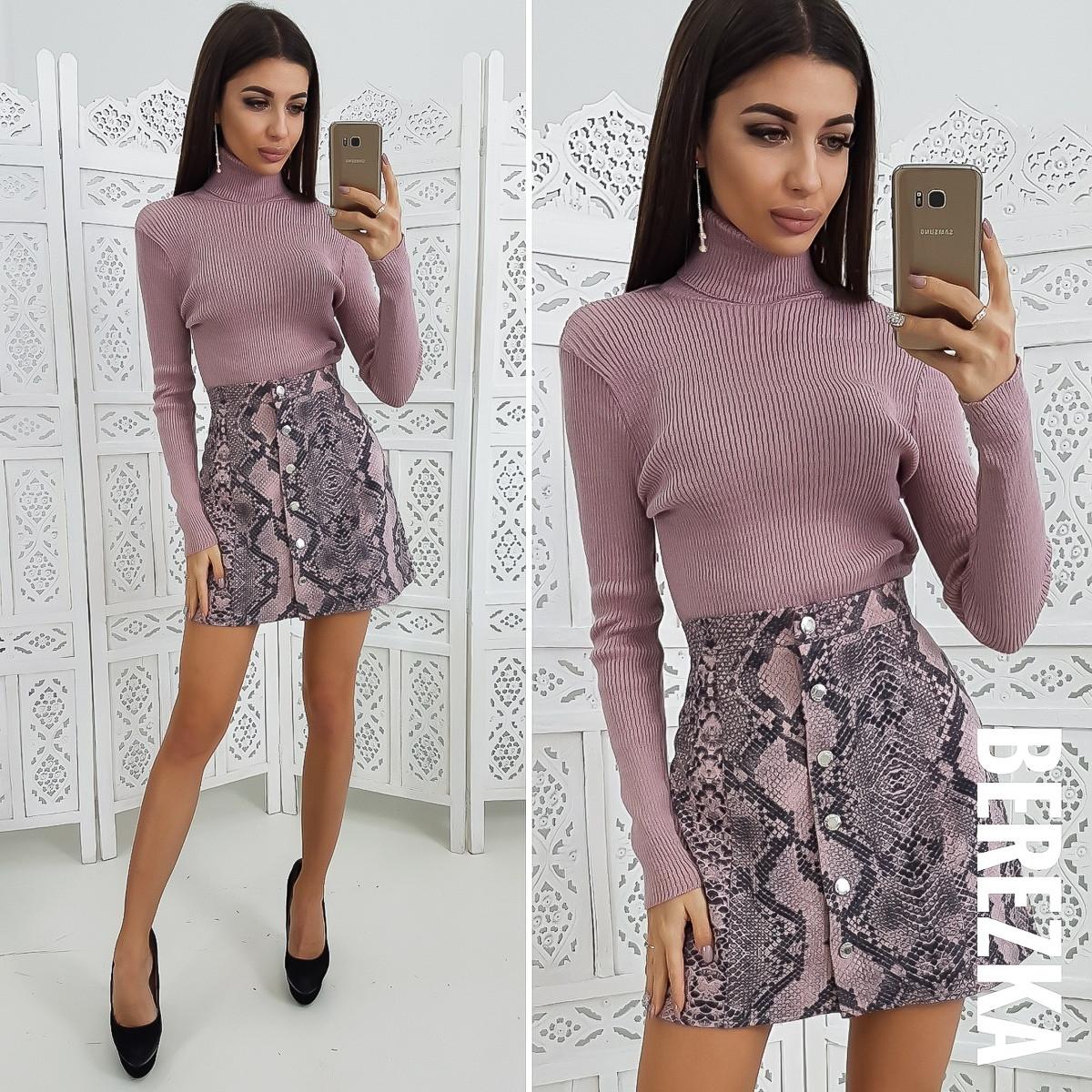 Замшевая принтованная юбка с пуговицами спереди 6611151