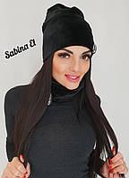 Бархатный комплект шапка и снуд с флисом 707159, фото 1