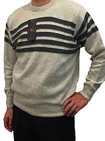 Мужской теплый свитер № 1655 серый с горизонтальными полосками