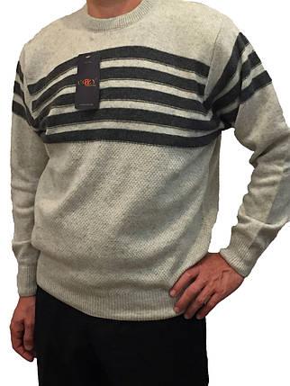 Мужской теплый свитер № 1655 серый с горизонтальными полосками, фото 2