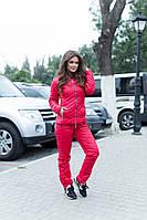 Красный зимний теплый стеганный синтепоновй женский костюм штаны+куртка с капюшоном. Арт-9413/6, фото 1
