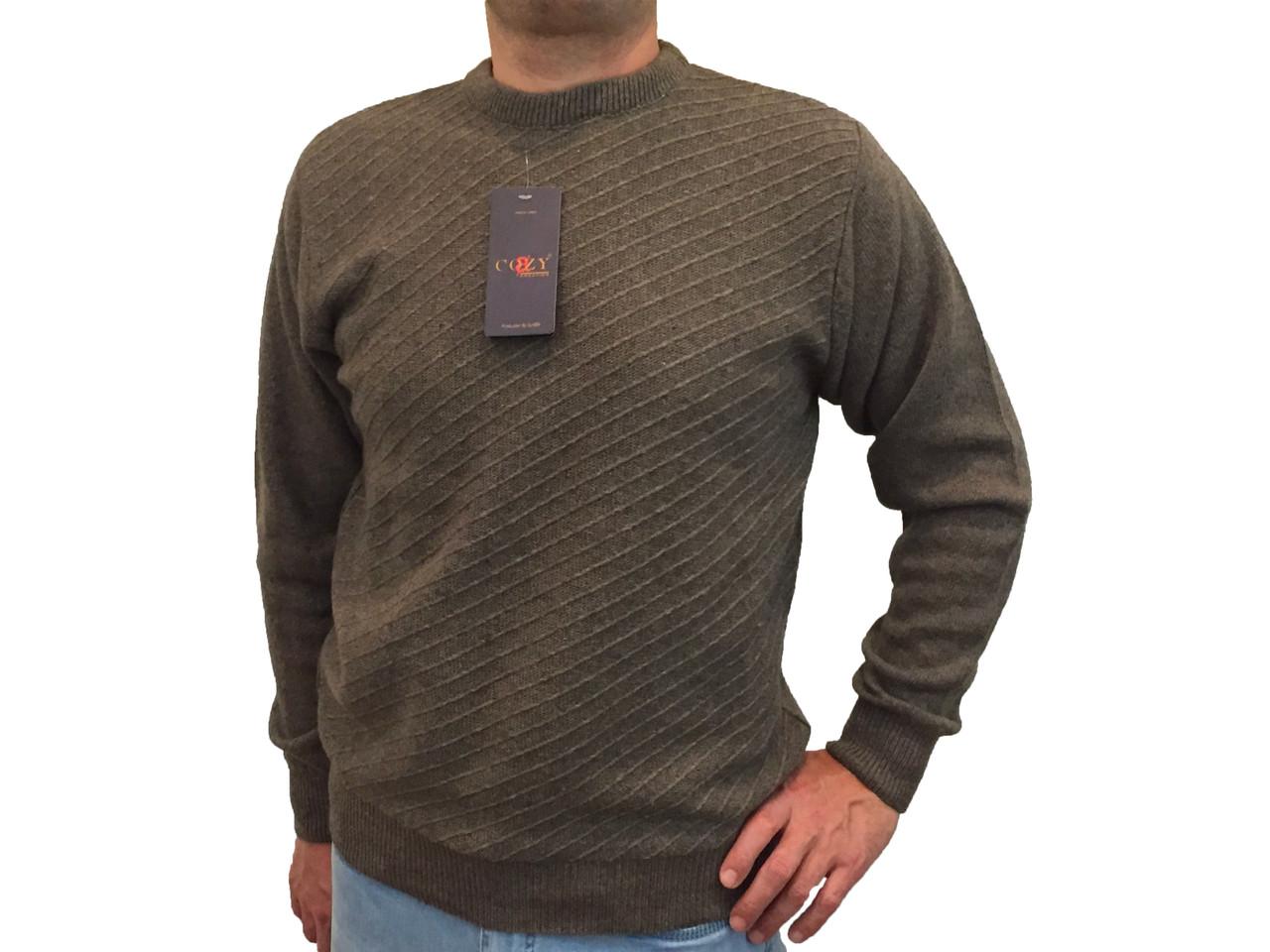 Мужской теплый свитер № 1665 коричневый ромбики