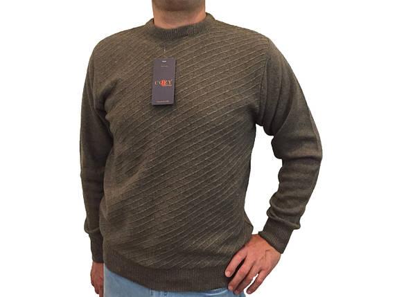 Мужской теплый свитер № 1665 коричневый ромбики, фото 2