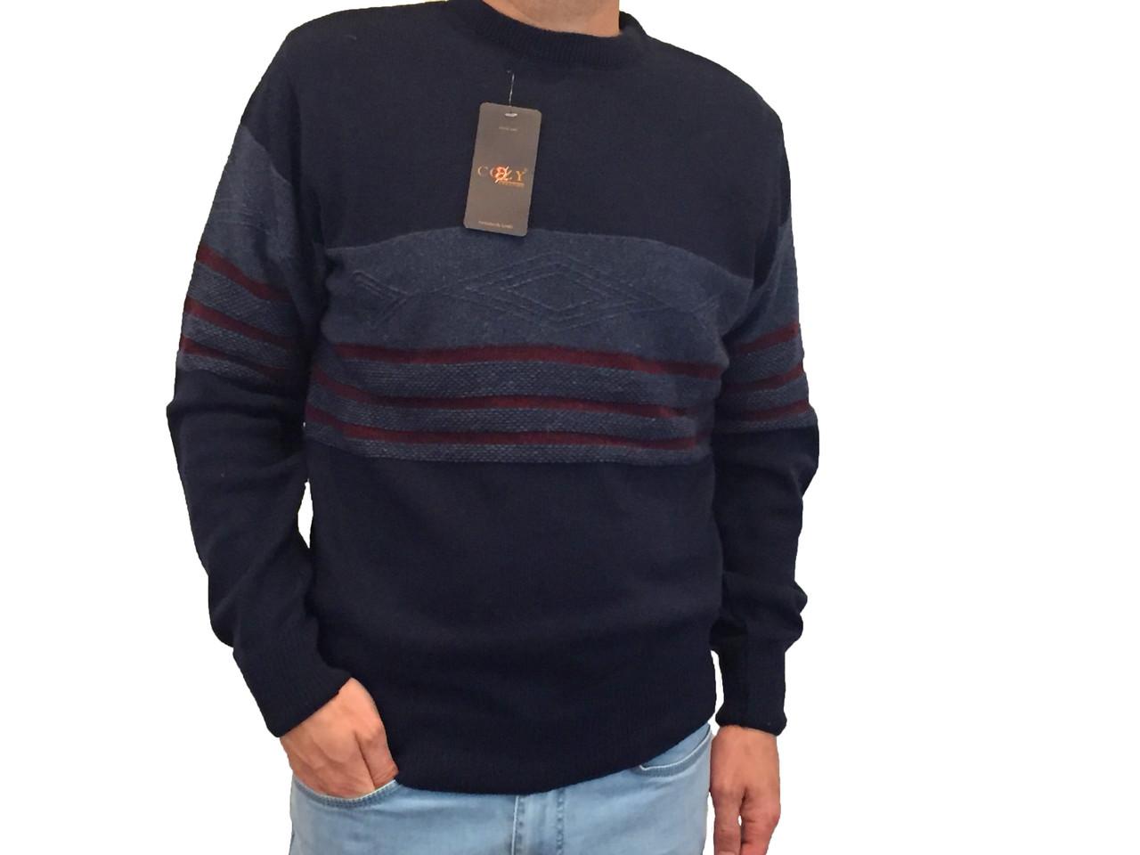 Мужской теплый свитер № 1690 темно-синий