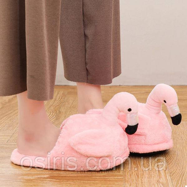 Тапочки домашние взрослые Фламинго / тапки комнатные плюшевые розовые 35-41 размер