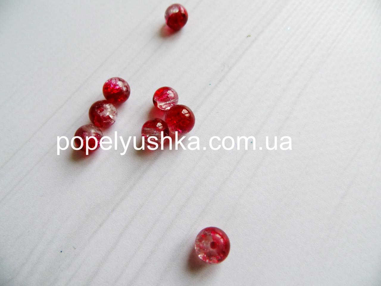Намистини 8 мм  Рожево-Прозорі (20 шт.)