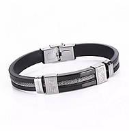 Наручный браслет из каучука «Chain» черный со вставками из нержавеющей стали