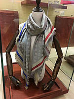 Платок шаль в стиле Louis Vuitton (Луи Витон) серо-золотой