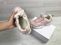 Зимние женские кроссовки Fila,розовые,на меху, фото 3