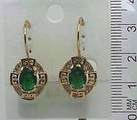 Серьги из ювелирной бижутерии с зелеными камнями .134