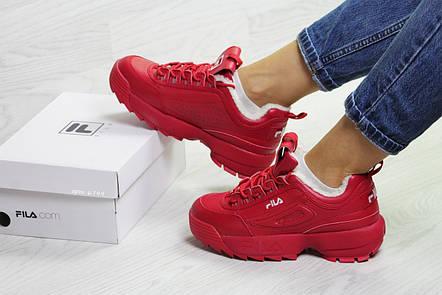Зимние женские кроссовки Fila,красные,на меху, фото 2