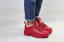 Зимние женские кроссовки Fila,красные,на меху, фото 3