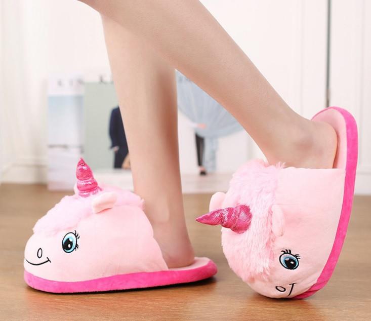Домашние детские тапочки игрушки розовые Единороги,30-35