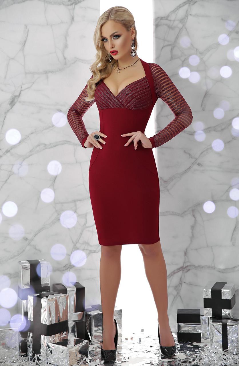 Женское облегающее платье до колен красное Патриция д/р