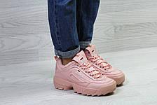 Зимние женские кроссовки Fila,розовые,на меху, фото 2