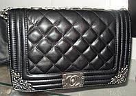 Женская сумка клатч Chanel Boy (Шанель Бой) 30665 средняя черная с серебром
