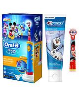 Детская  зубная щетка Oral-B D10. 513 Stages Power 2 насадки + зубная паста Crest