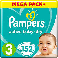 Подгузники Pampers Active Baby Midi 3 (6-10 кг) Mega Pack 152 шт.