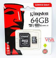 Карта памяти Kingston microSDXC 64GB class 10 Canvas Select U1 + Adapter (SDCS/64GB), фото 1