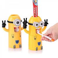 Дозатор для зубной пасты с держателем зубных щеток Миньон двухглазый, фото 1