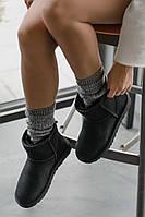 Женские зимние угги Ugg Classic Mini Black Реплика ААА класса, фото 1