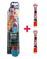 Oral-B Электрическая зубная щетка детская на батарейках (принцессы) 3 насадки в комплекте, фото 1