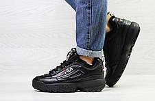 Зимние женские кроссовки Fila,черные,на меху, фото 2