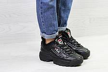 Зимние женские кроссовки Fila,черные,на меху, фото 3