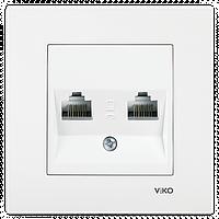 Розетка компьютерная 2 гнезда (белый) Viko Karre